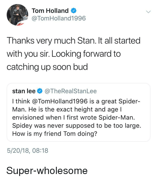 catching up: Tom Holland  @TomHolland1996  Thanks very much Stan. It all started  with you sir. Looking forward to  catching up soon bud  stan lee@TheRealStanLee  I think @TomHolland1996 is a great Spider-  Man. He is the exact height and age  envisioned when l first wrote Spider-Man  Spidey was never supposed to be too large  How is my friend Tom doing?  5/20/18, 08:18 <p>Super-wholesome</p>