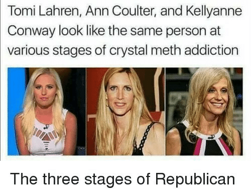 crystal meth: Tomi Lahren, Ann Coulter, and Kellyanne  Conway look like the same person at  various stages of crystal meth addiction  The three stages of Republicarn