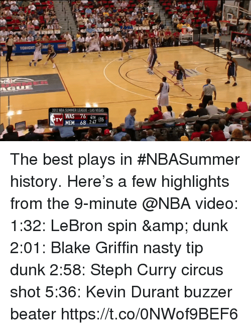 Blake Griffin, Dunk, and Kevin Durant: TONIGHT  13  2012 NBA SUMMER LEAGUE-LAS VEGAS  WAS  MEM 68 2:47 1  TV The best plays in #NBASummer history.   Here's a few highlights from the 9-minute @NBA video:  1:32: LeBron spin & dunk 2:01: Blake Griffin nasty tip dunk 2:58: Steph Curry circus shot 5:36: Kevin Durant buzzer beater   https://t.co/0NWof9BEF6