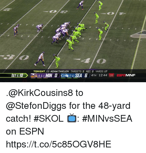 Espn, Memes, and 🤖: TONIGHT 19 ADAM THIELEN TARGETS: 2 REC: 2 YARDS: 17  (6-5-11MIN O  17-5]SEA 6  4TH 12:44 09 ESP. MNF .@KirkCousins8 to @StefonDiggs for the 48-yard catch! #SKOL  📺: #MINvsSEA on ESPN https://t.co/5c85OGV8HE