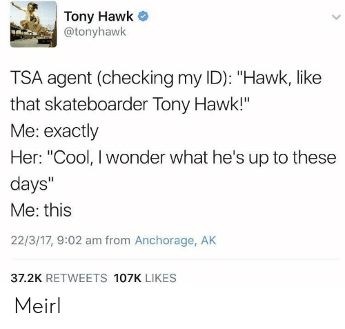 """Tony Hawk, Cool, and Wonder: Tony Hawk  @tonyhawk  TSA agent (checking my ID): """"Hawk, like  that skateboarder Tony Hawk!""""  Me: exactly  Her: """"Cool, I wonder what he's up to these  days""""  Me: this  22/3/17, 9:02 am from Anchorage, AK  37.2K RETWEETS 107K LIKES Meirl"""