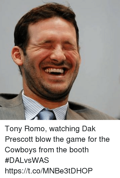 Dallas Cowboys, Sports, and The Game: Tony Romo, watching Dak Prescott blow the game for the Cowboys from the booth #DALvsWAS https://t.co/MNBe3tDHOP