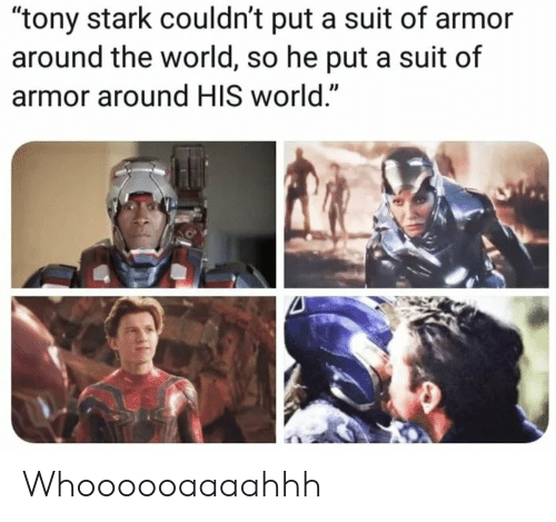 """World, Tony Stark, and Armor: """"tony stark couldn't put a suit of armor  around the world, so he put a suit of  armor around HIS world."""" Whoooooaaaahhh"""