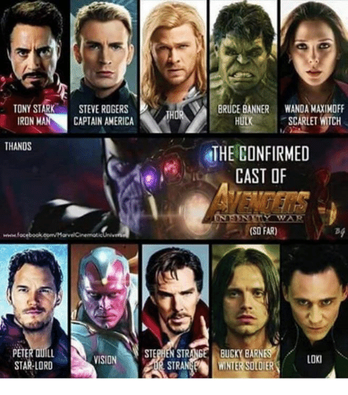 America, Ironic, and Memes: TONY STARK  STEVE ROGERS  BRUCE BANNER WANDA MAXIMOFF  CAPTAIN AMERICA  IRON MA  HULK  SCARLET WITCH  THANOS  THE CONFIRMED  CAST OF  (SO FAR)  www.foc  SE BUGm BARNES  STE  VISION  LOKl  STRAN  STAR LORD