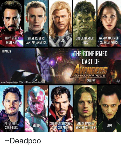 America, Facebook, and Iron Man: TONY STARK  STEVE ROGERS  BRUCE BANNER WANDA MAXIMOFF  THO  HULK SCARLET WITCH  IRON MAN CAPTAIN AMERICA  THANOS  THE CONFIRMED  CAST OF  IN F KNITY TWAR.  (SO FAR)  www.facebook.com/MarvelCinematicUnive  STEPHEN STRANGE BUCKY BARNES  PETER DULL  VISION  LOKI  STAR-LORD  STRANGEA WINTER SOLDIER ~Deadpool