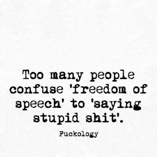 Freedom: Too many people  confuse 'freedom of  speech' to 'saying  stupid shit'  Fuckology
