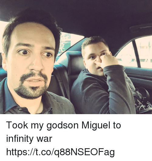 Memes, Infinity, and Miguel: Took my godson Miguel to infinity war https://t.co/q88NSEOFag
