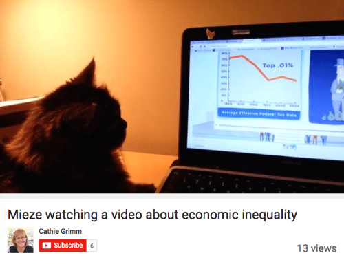 grimm: Top .01%  Mieze watching a video about economic inequality  Cathie Grimm  Subscribe  13 views