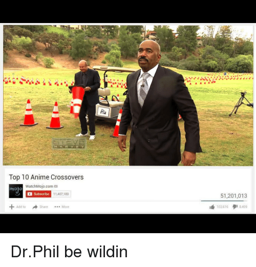 Anime, Wildin, and Dr Phil: Top 10 Anime Crossovers  WatchMojo.com  Subscribe  molo  11.407,180  51,201,013  Add to  Share More  1 102.616タ18,409 Dr.Phil be wildin