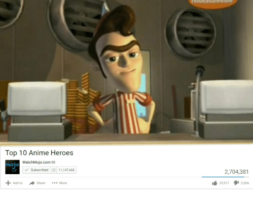 Anime, Heroes, and Add: Top 10 Anime Heroes  WatchMojo.com  moo  Subscribed  11,147,468  2,704,381  +Add to Share More  29,517タ13,506