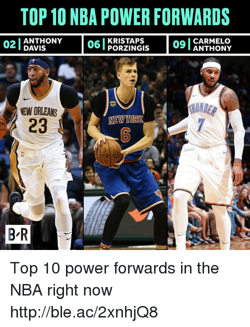 Nba, Http, and New Orleans: TOP 10 NBA POWER FORWARDS  02IANTHONY  DAVIS  06 | PORTINGIS  KRISTAPS  CARMELO  09T ANTHONY  UNDE  NEW ORLEANS  23  B R Top 10 power forwards in the NBA right now http://ble.ac/2xnhjQ8