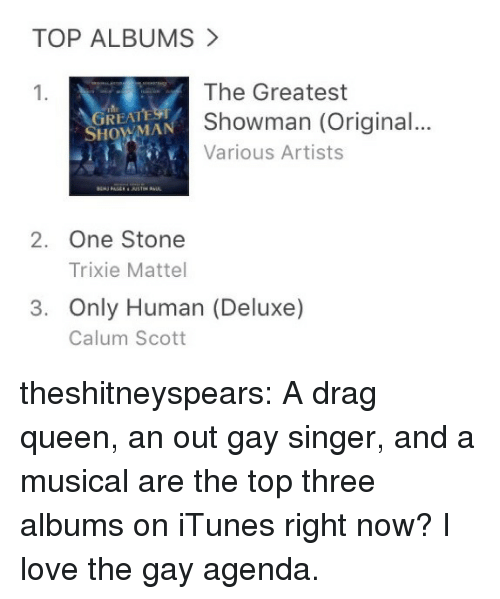Love, Target, and Tumblr: TOP ALBUMS  The Greatest  Showman (Original...  Various Artists  1.  REAT  SHOWMAN  2. One Stone  Trixie Mattel  3. Only Human (Deluxe)  Calum Scott theshitneyspears:  A drag queen, an out gay singer, and a musical are the top three albums on iTunes right now? I love the gay agenda.