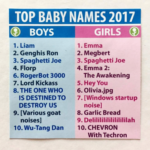 Girls, Windows, and Goat: TOP BABY NAMES 2017  GIRLS  BOYS  1. Liam  1. Emma  2. Genghis Ron  3. Spaghetti Joe  4. Florp  6. RogerBot 3000  7. Lord Kickass  8. THE ONE WHO  IS DESTINED TO  2. Megbert  3. Spaghetti Joe  4. Emma 2:  The Awakening  5. Hey You  6. Olivia.jpg  7. [Windows startup  noise]  8. Garlic Bread  9. Delilililililililililah  10. CHEVRON  With Techron  DESTROY US  9. [Various goat  noises]  10. Wu-Tang Dan