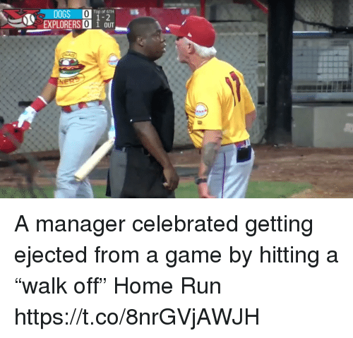 """explorers: Top of 6TH  1-2  EXPLORERS 0 1 OUT A manager celebrated getting ejected from a game by hitting a """"walk off"""" Home Run https://t.co/8nrGVjAWJH"""