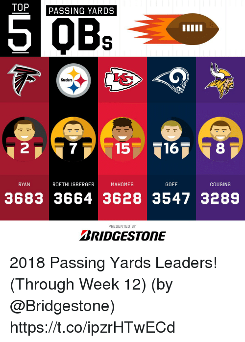 Memes, Steelers, and 🤖: TOP  PASSING YARDS  Steelers  2  15168  RYAN  ROETHLISBERGER  MAHOMES  GOFF  COUSINS  3683 3664 3628 3547 3289  PRESENTED BY  BRIDGESTONE 2018 Passing Yards Leaders! (Through Week 12)  (by @Bridgestone) https://t.co/ipzrHTwECd