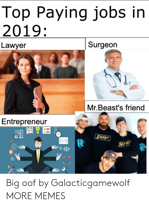 Lawyer: Top Paying jobs in  2019:  Surgeon  Lawyer  Mr.Beast's friend  Entrepreneur  EEAST  SE S1  4i> Big oof by Galacticgamewolf MORE MEMES