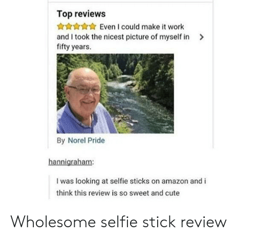 It Work: Top reviews  Even I could make it work  and I took the nicest picture of myself in  fifty years.  By Norel Pride  hannigraham:  I was looking at selfie sticks on amazon and i  think this review is so sweet and cute Wholesome selfie stick review