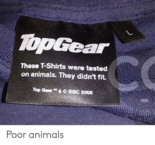 Animals, Top Gear, and Bbc: TopGear  These T-Shirts were tested  on animals. They didn't fit  Top Gear  BBC 2005 Poor animals
