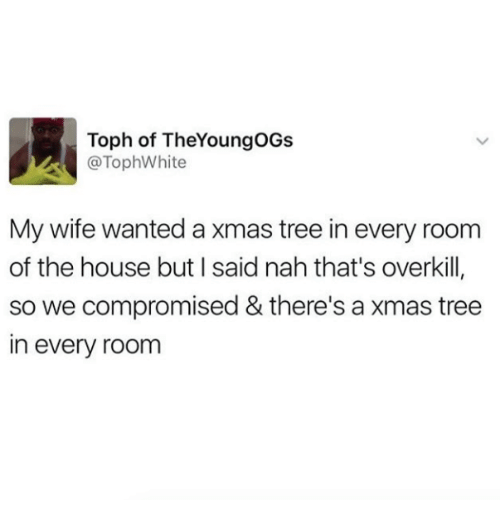 House, Tree, and Wife: Toph of TheYoungOGs  @TophWhite  My wife wanted a xmas tree in every roonm  of the house but I said nah that's overkill,  so we compromised & there's a xmas tree  in every room