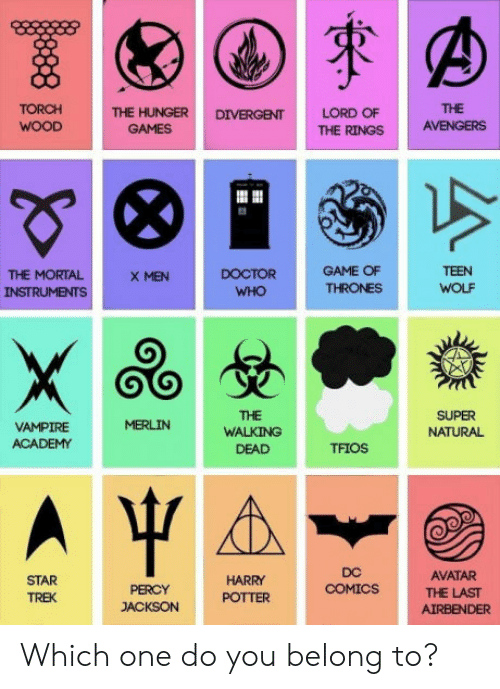 Doctor, Game of Thrones, and Star Trek: TORCH  THE HUNGER DIVERGENT LORD OF  THE  GAMES  THE RINGS AVENGERS  THE MORTAL  INSTRUMENTS  DOCTOR  WHO  GAME OF  THRONES  TEEN  WOLF  X MEN  THE  VAMPIRE  ACADEMY  WALKINGTFIOS  SUPER  NATURAL  DEAD  STAR  TREK  DC  COMICS  AVATAR  THE LAST  AIRBENDER  HARRY  PERCY  JACKSON PTTER Which one do you belong to?