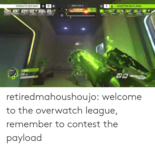 Tumblr, Blog, and Houston: TORONTO DEFIANT  0  MAP 2 OF 4  1Y HOUSTON OUTLAWS  24  500 retiredmahoushoujo:  welcome to the overwatch league, remember to contest the payload