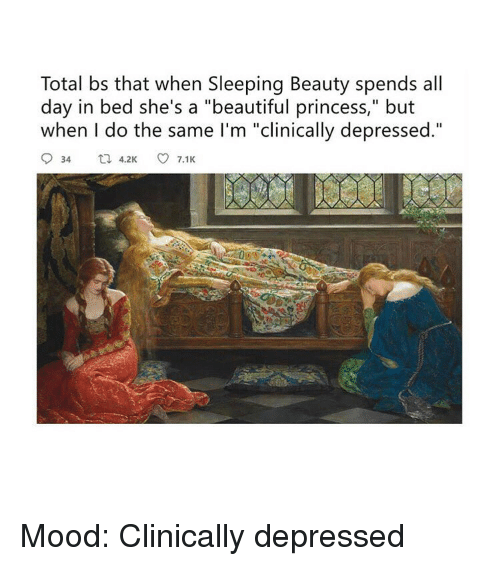 "Sleeping Beauty: Total bs that when Sleeping Beauty spends all  day in bed she's a ""beautiful princess,"" but  when I do the same I'm ""clinically depressed."" Mood: Clinically depressed"