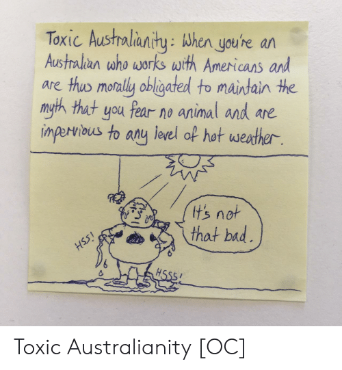Thot, Animal, and Fear: Toxic Austholianity: When youhe ar  Austalian who works with Americans and  are thus monally obligated to maintain the  myth that you fear no animal and are  inperiaus to any eel of hot westher  tsnot  thot bid Toxic Australianity [OC]