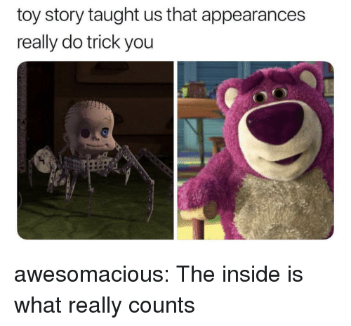 Toy Story, Tumblr, and Blog: toy story taught us that appearances  really do trick you  O! awesomacious:  The inside is what really counts
