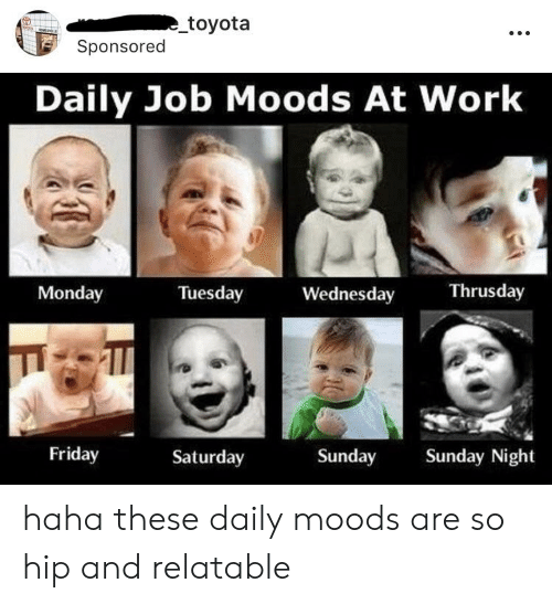 Friday, Work, and Toyota: toyota  Sponsored  Daily Job Moods At Work  Monday  Tuesday  Wednesday  Thrusday  Friday  Saturday  Sunday Sunday Night haha these daily moods are so hip and relatable