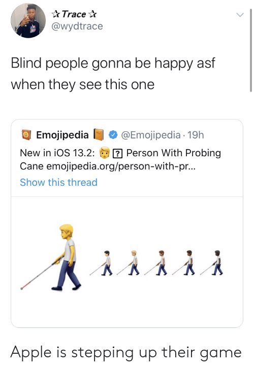 cane: Trace  @wydtrace  Blind people gonna be happy asf  when they see this one  Emojipedia  @Emojipedia 19h  Person With Probing  Cane emojipedia.org/person-with-pr...  New in iOS 13.2:  Show this thread Apple is stepping up their game