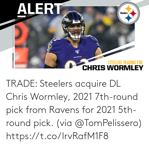 From: TRADE: Steelers acquire DL Chris Wormley, 2021 7th-round pick from Ravens for 2021 5th-round pick. (via @TomPelissero) https://t.co/lrvRafM1F8