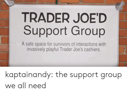 playful: TRADER JOE'D  Support Group  A safe space for survivors of interactions with  invasively playful Trader Joe's cashiers. kaptainandy:  the support group we all need