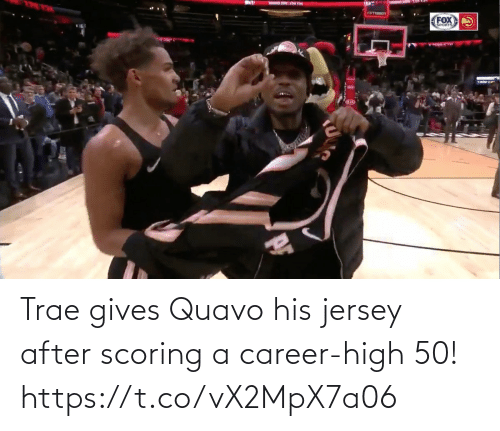 Scoring: Trae gives Quavo his jersey after scoring a career-high 50!  https://t.co/vX2MpX7a06