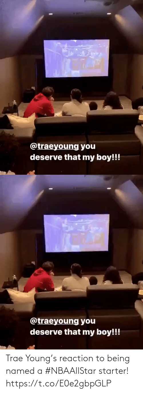 Https T: Trae Young's reaction to being named a #NBAAllStar starter!  https://t.co/E0e2gbpGLP