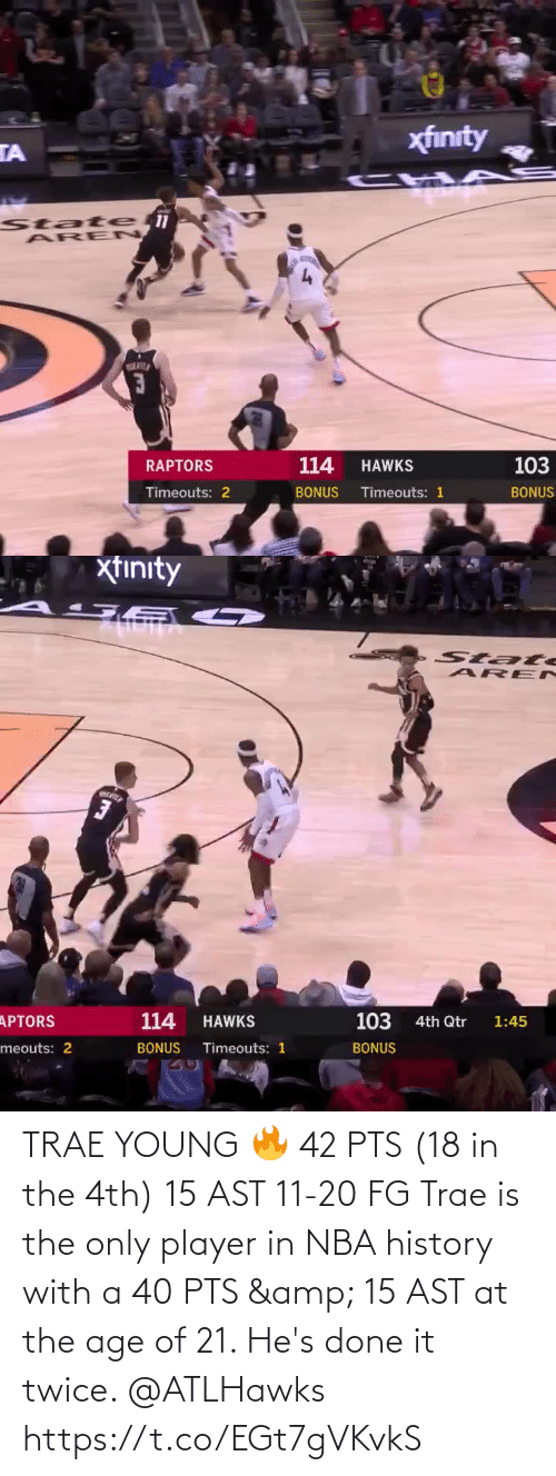 done: TRAE YOUNG 🔥  42 PTS (18 in the 4th) 15 AST 11-20 FG  Trae is the only player in NBA history with a 40 PTS & 15 AST at the age of 21. He's done it twice. @ATLHawks   https://t.co/EGt7gVKvkS