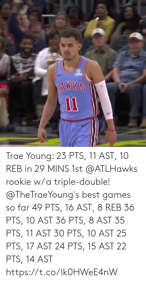 Memes, Best, and Games: Trae Young: 23 PTS, 11 AST, 10 REB in 29 MINS  1st @ATLHawks rookie w/ a triple-double!   @TheTraeYoung's best games so far 49 PTS, 16 AST, 8 REB 36 PTS, 10 AST 36 PTS, 8 AST 35 PTS, 11 AST 30 PTS, 10 AST 25 PTS, 17 AST 24 PTS, 15 AST 22 PTS, 14 AST  https://t.co/lk0HWeE4nW
