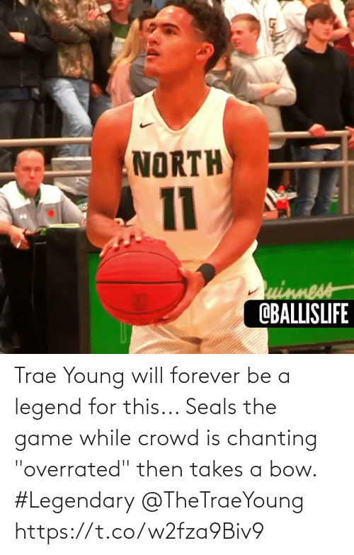 "legend: Trae Young will forever be a legend for this... Seals the game while crowd is chanting ""overrated"" then takes a bow. #Legendary @TheTraeYoung https://t.co/w2fza9Biv9"