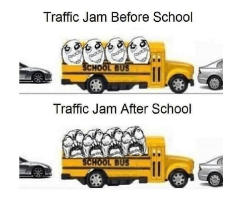 traffic jam: Traffic Jam Before School  HOOL BUS  Traffic Jam After School