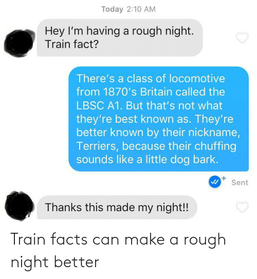Train: Train facts can make a rough night better