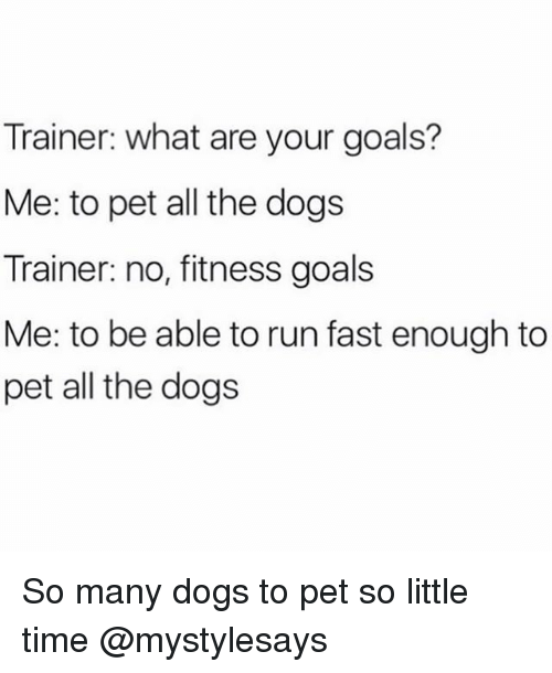 Running Fast: Trainer: what are your goals?  Me: to pet all the dogs  Trainer: no, fitness goals  Me: to be able to run fast enough to  pet all the dogs So many dogs to pet so little time @mystylesays