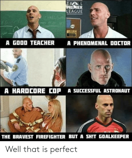 phenomenal: TRALL  PREMIER  LEAGUE  A GOOD TEACHER  A PHENOMENAL OOCTOR  A HARDCORE COP A SUCCESSFUL ASTRONAUT  THE BRAVEST FIREFIGHTER BUT A SHIT GOALKEEPER Well that is perfect