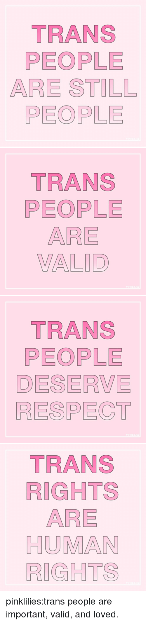 Respect, Target, and Tumblr: TRANS  PEOPLE  ARE STILL  PEOPLE   TRANS  PEOPLE  ARE  VALID   TRANS  PEOPLE  DESERVE  RESPECT   TRANS  RIGHTS  ARE  HUMAN  RIGHTS pinklilies:trans people are important, valid, and loved.