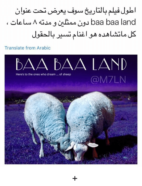Memes, Translate, and 🤖: Translate from Arabic  Here's to the ones who dream... of sheep  @M7LN اكثر فيلم متحمس له الصراحه + اللي يبي يشوفه حطيت رابط التريلر بالبايو