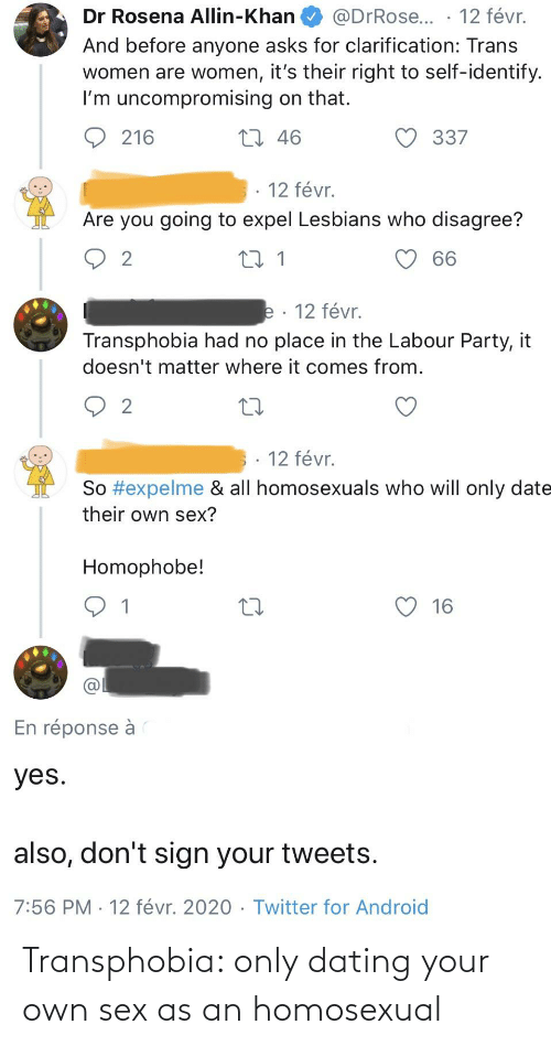 Conservative Memes: Transphobia: only dating your own sex as an homosexual