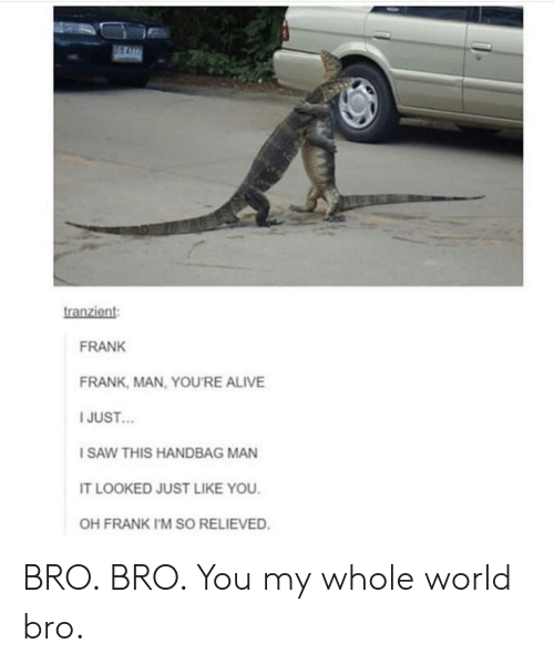 Alive, Saw, and World: tranzient  FRANK  FRANK, MAN, YOU'RE ALIVE  I JUST  SAW THIS HANDBAG MAN  IT LOOKED JUST LIKE YOU  OH FRANK IM SO RELIEVED BRO. BRO. You my whole world bro.