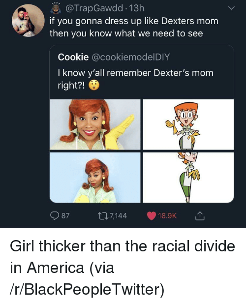 America, Blackpeopletwitter, and Dress: @TrapGawdd 13h  if you gonna dress up like Dexters mom  then you know what we need to see  Cookie @cookiemodelDIY  I know y'all remember Dexter's mom  right?!  987 t7144 18.9K Girl thicker than the racial divide in America (via /r/BlackPeopleTwitter)