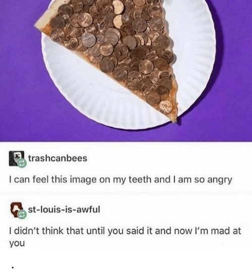 Now Im: trashcanbees  I can feel this image on my teeth and I am so angry  st-louis-is-awful  I didn't think that until you said it and now I'm mad at  you .