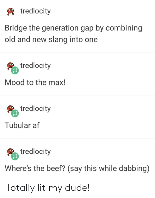 Wheres The Beef: tredlocity  Bridge the generation gap by combining  old and new slang into one  tredlocity  Mood to the max!  tredlocity  Tubular af  tredlocity  Where's the beef? (say this while dabbing) Totally lit my dude!