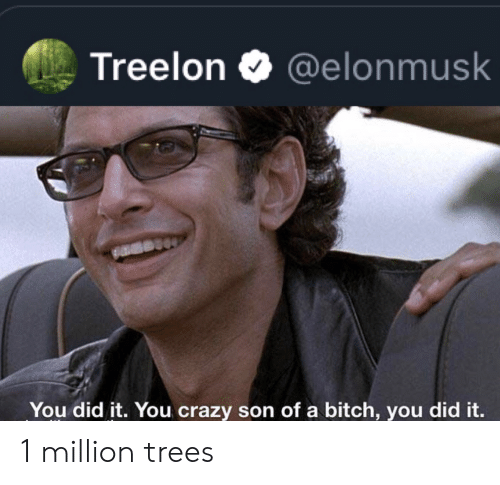 Bitch, Crazy, and Trees: Treelon  @elonmusk  You did it. You crazy son of a bitch, you did it. 1 million trees