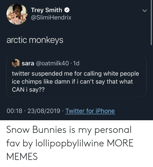 monkeys: Trey Smith  @SlimiHendrix  arctic monkeys  sara @oatmilk40 1d  twitter suspended me for calling white people  ice chimps like damn if i can't say that what  CAN i say??  00:18 23/08/2019 Twitter for iPhone Snow Bunnies is my personal fav by lollipopbylilwine MORE MEMES